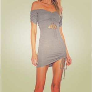 NWT Ale by Alessandra grey ruched sparkle dress